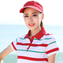 2017 New Summer Fashion Striped Cotton Short Sleeved Polos Womens Tops Plus Size Slim Female Women Polo Shirts 66816(China)