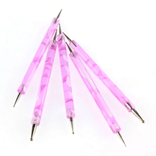 5pcs DIY rhinestones nail decoration Nail Tips Polish 2-ways Dotting Tool Marbleizing Painting Pen Nail Art Decorations
