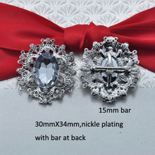 (S0466)30x34mm metal rhinestone ribbon slider,with bar at back,acrylic beads in middle,nickle or gold or light rose gold plating