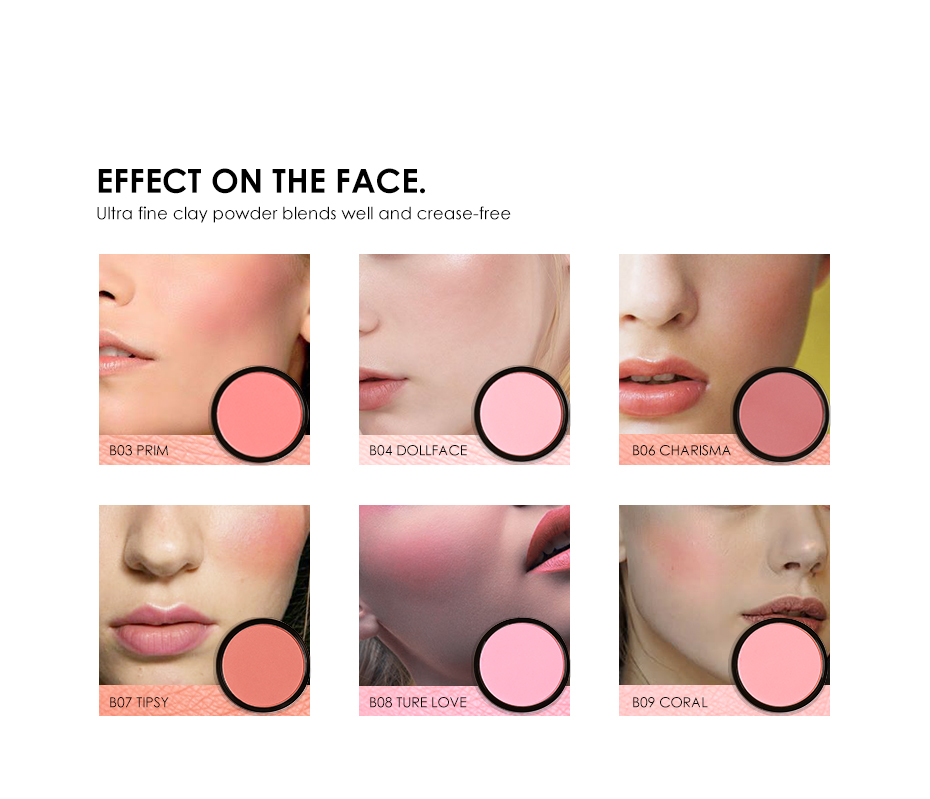 FOCALLURE 6 Colors Blush Makeup Cosmetic Natural Pressed Blusher Powder Palette Charming Cheek Color Make Up Face Blush 2