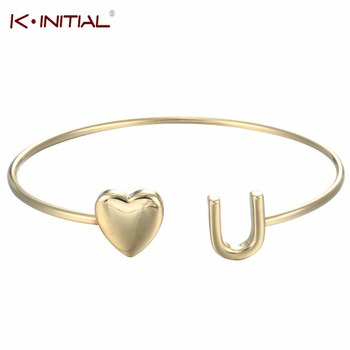 Kinitial 1Pcs Gold Silver Plated Sweet Heart You Bangle Hearts Bracelets for Girl Love Lucky Party Charm Cuff Bracelet Jewelry