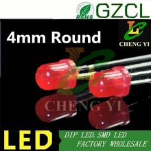 DIP 4mm led DIFFUSED RED round 2-pin light diode 1.8-2.2V 1000PCS Free shipping