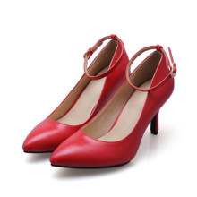 New 2017 Fashion Women Pumps Pointed Toe Genuine Leather Pump High Heels Transparent Brand Women Red Wedding Shoes SMYBK-52