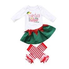 Lindo Navidad 3 unids bebé recién nacido Niñas manga larga romper falda rayas  pierna calentador Santa pequeño ayudante ropa Set . eb767d5c97f4