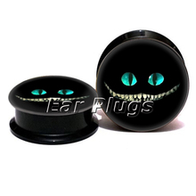 1 pair cheshire cat face ear plug gauges black acrylic screw fit ear plug flesh tunnel body piercing jewelry PSP0773