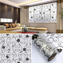 PVC Black Flower Sweet Frosted Privacy Cover Glass Window Door Sticker Film Adhesive Home Decor HG99