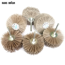 4 pieces 6mm shaft 85mm Abrasive Wire Grinding Wheel Nylon Bristle Brush for Wood Furniture Mahogany Polishing(China)