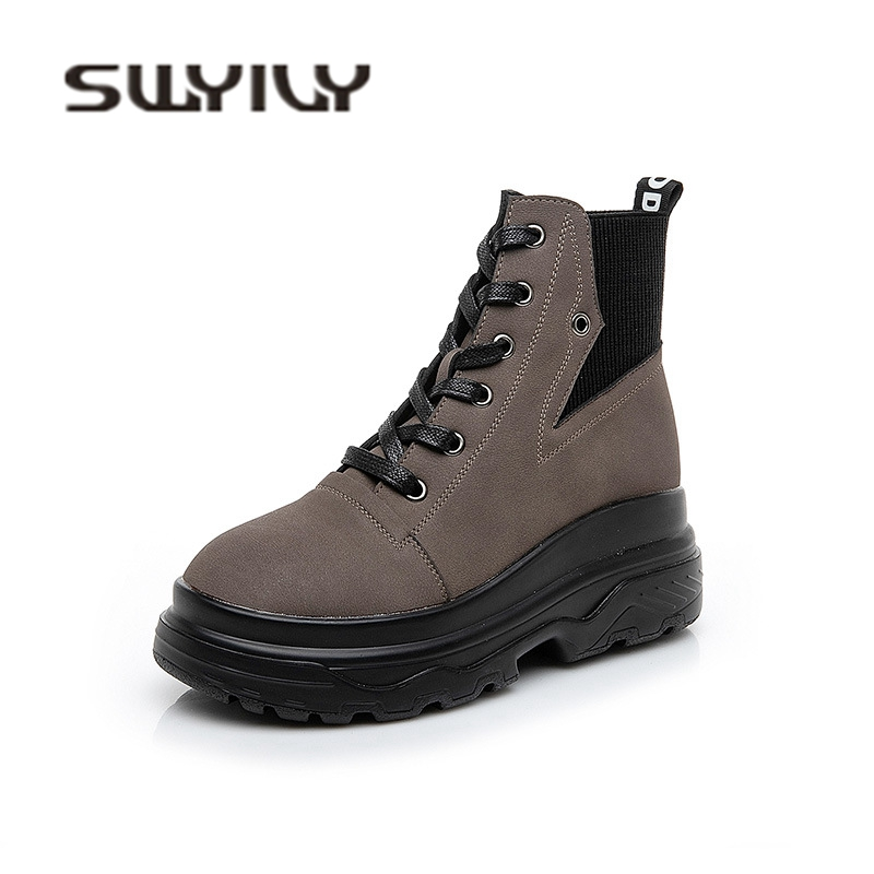 SWYIVY Autumn Ankle Boots Woman Platform 2018 Winter Velvet Fur Warm Snow Boots Shoes Female High Top Casual Cotton Padded Shoes