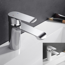 Bathroom Faucet Deck Mounted Basin Mixer Faucet Chrome Sink Tap Vanity Hot Cold Water Faucet White Painting Tap Faucet(China)