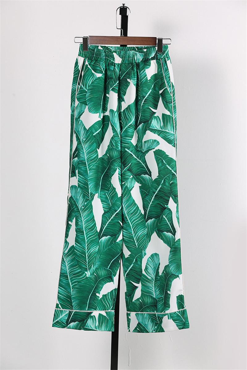 Brand Fashion Two Piece Set Women Runway Suit Fashion Green Leaf Print Dragonfly Beading Shirt + Elastic Waist Pants Sets 12