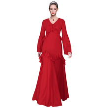 plus size dress 2017 womens clothing solid maxi red dress v neck flounced ruffles flare sleeve floor length a line elegant dress