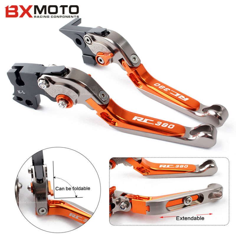 Orange Motorcycle aluminum Adjustable Foldable Lengthening brake clutch levers for ktm rc 390 2014 2015 2016 2017 Free Shipping<br>