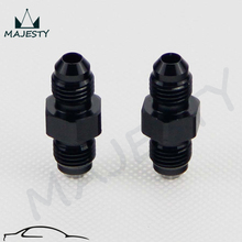 2PCS UNIVERSAL AN6 to 6AN ALUMINIUM STRAIGHT MALE FLARE UNION FITTING ADAPTER Black