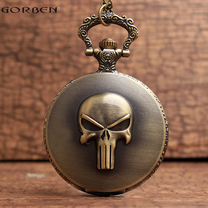 Vintage The Punisher Skull Dial Roman Numeral Quartz Pocket Watches Analog Pendant Necklace Chain Relogio Men Boys Watches Gift(China (Mainland))
