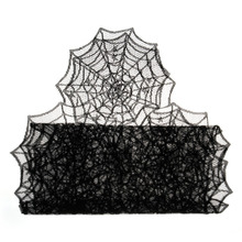 1pc 18X72inch Halloween Table Decoration Event Party Supplies Halloween Spider Web Table Runner Black Lace Tablecloth J(China)
