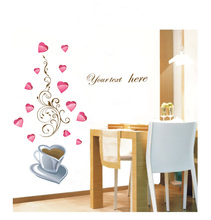 Cooffe cup and  Love Heart with English quote Waterproof and Removable PVC Wall Stickers Fancy Home Decoration Gift