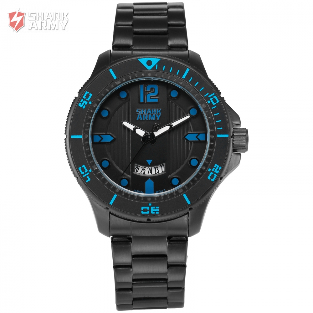 SHARK ARMY Fashion Classic Brand Blue Numerals Electroplate Sports Outdoor Black Steel Band Men Quartz Watch Timepiece /SAW218<br>