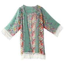 Women fashion summer Casual Chiffon Loose cardigan tops Long Sleeve floral print lace asymmetrical shrt blouse