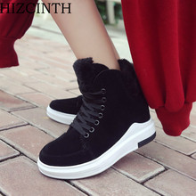 HIZCINTH 2017 Winter Cotton Warm Shoes Woman Female Casual Height Increasing Lace-up Ankle Boots Students Sports Botas Mujers(China)