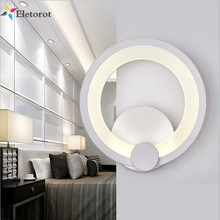 Simple Modern Wall Light LED Metal+Acrylic Ring Wall Sconce Diameter 19cm Indoor Lighting Wall Lamp For Hallway Bedroom Bathroom(China)