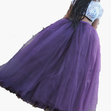 Fashion Purple Puffy Tulle Ball Gown Lush Floor Length Tutu Skirts Women Clothing Elastic Custom Made Maxi Skirts faldas mujer(China)