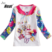 NEAT 2017 new girl long sleeved dress, color long-sleeved embroidery pattern decoration, girl casual clothes promotion L330#