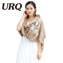 big foulard embroidered shawl scarf for women from india shawl scarves winter pashmina cotton voile scarf luxury brand 2016 new(China)