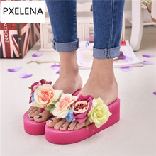 PXELENA Sweet Girls Flip Flops Woman Flower Thong Slides Wedge High Heel Platform Slipper Ladies Date Shoes 2017 Summer A-133(China)