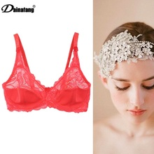 2017 Female Underwear Unlined Super Thin Soft Lace Bra Women Plus Size Red Bra soutien gorge Size 38D 40E 42DE 44DE 46DE DE0025(China)