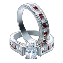 lady jewelry fine natural stone red corundum zircon rings set luxury engagement costume accessories trendy jewellery(China)