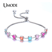 UMODE Hot Sale Adjustable Box Chain Tennis Bracelet For Woman Jewelry With Multicolor CZ White Gold Color Bracelet Gift AUB0081B