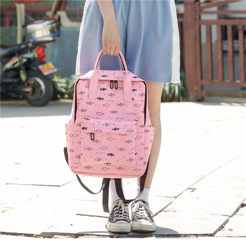 Menghuo Fish Printing Women School Bag Backpack for Teenage Girls Backpacks Female Canvas Children Schoolbag Women Bag s (42)
