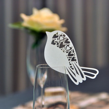 60pcs/set for White Bird Shaped Table Mark Wine Glass Name Place Cards Wedding Decoration Party Favor