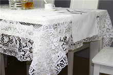Free Shipping High Quality&Elegant Europe  Style Handmade Batten Lace Crocheted Square Table Cloth White Lace Table Cloth