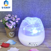 U-EASY Usb Power Flower Buds Rotating Projection Lamp LED Dream Romantic Star Light Projector Fashion Bedroom Night Lights