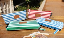 Hot sale sweet design good quality wholesale    navy Stripes style pencil bagcotton bag .cute lovey school stationery