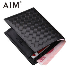 AIM 2017 New Arrival Knitting Pattern Cow Leather Black Wallets for Men Classic Genuine Leather Vintage Bifold Wallet Men Puser