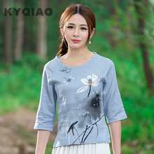 KYQIAO Girls ethnic half sleeve o neck lotus water lily pattern blue linen blouse shirt m-2xl top Traditional Chinese clothing