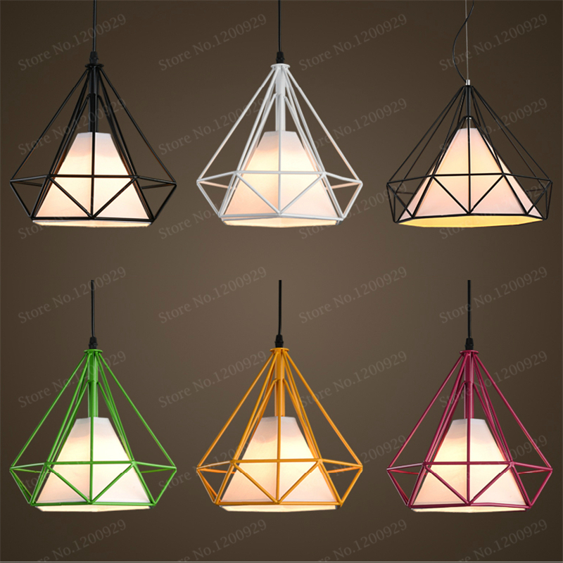 Vintage Iron Cloth Pendant Light Colorful Droplight Bar Cafe Bedroom Restaurant Living Room Nordic Modern Style Hanging Lamp<br>