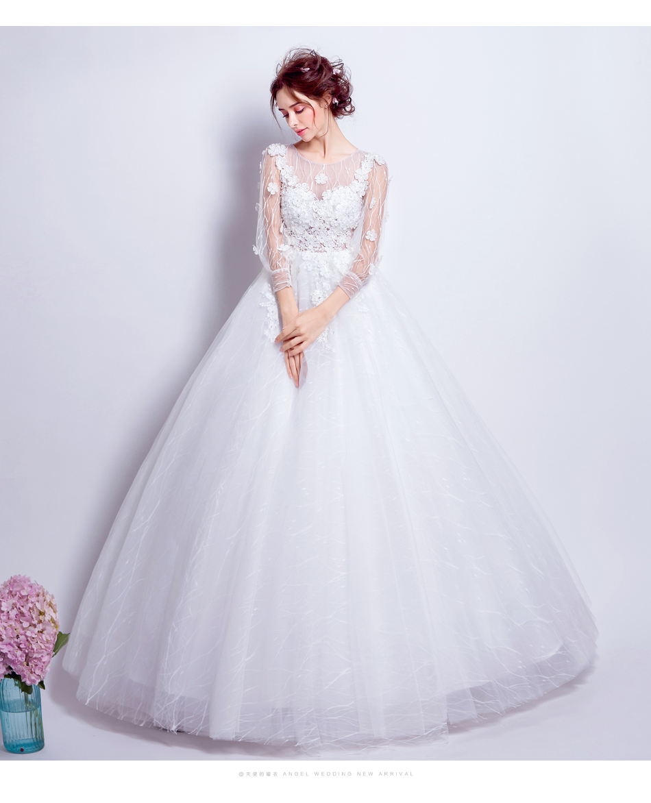 Angel Wedding Dress Marriage Bride Bridal Gown Vestido De Noiva Lace Boat Neck Flower bud silk 2017 6916 10