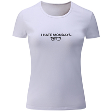 iDzn I Hate Mondays Print Graphic Women's T Shirts Summer Casual Tee Shirt Loose Girl's Short Sleeve Tops Gray White Yellow Red(China)