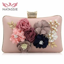 Natassie New Design Flower Clutches Women Bag Lady Beauty Diamond Day Clutch Female Wedding Purses(China)