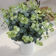Artificial eucalyptus leaf Green plant branches Flower arranging accessories money leaves(China)