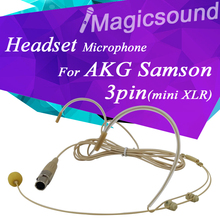 Pro Condenser Headworn Headset Microphone For AKG Saomson Wireless Body-Pack Transmitter mini 3 pin XLR TA3F 3pin Connector