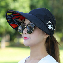 2017 Fashion Design Flower Size Adjustable Brimmed Sun Hat Summer Hats for Women Outdoor UV Protection HT51183+35(China)