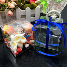 25 Pcs 6*6*6cm PVC Square Gift Boxes Favor Candy Packing Souvenir Box Transparent Event Chocolate Dessert Bags Caja de regalo