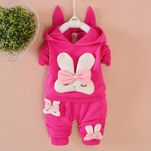Baby Girls clothing Set Cartoon Rabbit Child long Sleeve Hoodies Autumn Cotton suit Toddler baby sets kids outfits Girls Clothes(China)