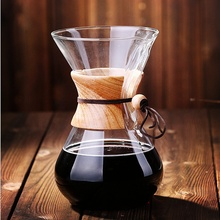 New Arrival Chemex Style Pour Over Coffeemaker Coffee Machine  6 Cups Classic Glass Espresso Coffee Maker Cafe Tools Home Office