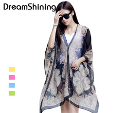Hot Sale Blouse Fashion Print Pattern Chiffon Women's Bat Sleeve Shirt Tops Long Beach Towel Female Scarves Magica Cape