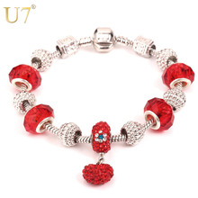 U7 Heart Bracelets & Bangles Gold/Silver Color European Style Jewelry Red Rhinestone Crystal Beads Charm Bracelet For Women H620(China)